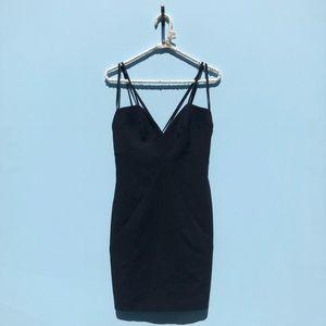 NWT Black Halo Black Strappy Mini Dress